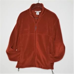 Columbia carnelian red fleece full zip jacket Lg